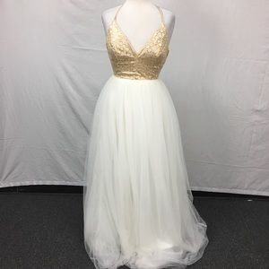 TLC Say Yes To The Dress Prom Gold Tulle Dress
